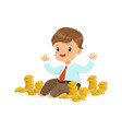 cute little boy businessman sitting surrounded by vector image vector image