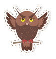 cute owl cartoon flat sticker or icon vector image vector image