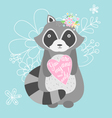 Cute raccoon with heart You are my one and only vector image