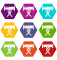 cutting saw icons set 9 vector image vector image