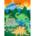 Dinosaurs stomp stomp next to a volcano