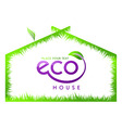 eco green grass house isolated vector image vector image