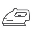 electric iron line icon home and household vector image vector image