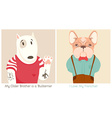 French Bull Dog and Bullterrier Cartoon vector image