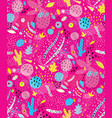 fuchsia shapes abstract collage seamless pattern vector image