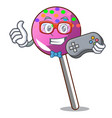 gamer lollipop with sprinkles mascot cartoon vector image