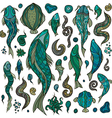 Hand crafted collection of marine creatures vector image vector image