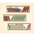 Hand drawn books on the bookshelves vector image