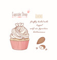 hand drawn cupcake almond flavor vector image