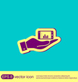 hand holding a smartphone with diagram vector image