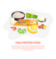 high protein food banner template nutrition and vector image