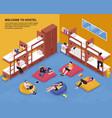 hostel bedroom isometric vector image vector image