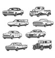 icons of retro cars and vintage automobiles vector image