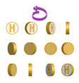 letter h in circle rotation sequence sprite sheet vector image vector image