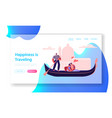loving couple hugging in gondola with gondolier vector image vector image