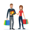 Man and woman with gifts and shopping Cartoon vector image