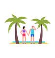 men and women at beach vector image