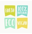 Natural and vegan flag tags vector image vector image