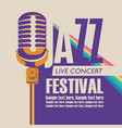 poster for a jazz music festival with a microphone vector image vector image
