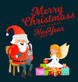 santa claus in red hat with beard sits on chair vector image vector image