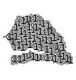 senegal map mosaic of binary digits vector image