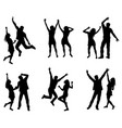 set of dancing couple silhouettes vector image