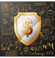 shield with dollar sign and exchange doodle icon vector image vector image