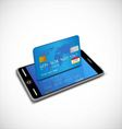 Smartphone with credit card vector image vector image