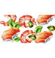 sushi watercolor pattern delicious texture vector image