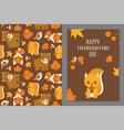 thanksgiving wild animal seamless pattern vector image