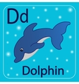 The letter of the English alphabet D Blue Dolphin vector image vector image