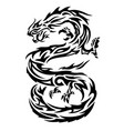 tribal tattoo art with black asian dragon vector image vector image