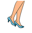 woman goes close-up feet in shoes vector image vector image