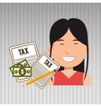 woman taxes bills pencil vector image