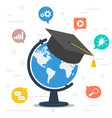 worldwide education globe with student hat at top vector image vector image