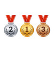 isolated gold silver and bronze medals champion vector image