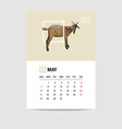 2017 may calendar goat polygon vector image vector image