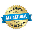 all natural round isolated gold badge