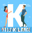 big k letter white letter with young people vector image vector image