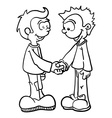 black and white two boys shaking hands vector image vector image