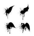 black grunge wings set vector image vector image