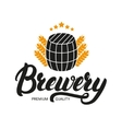 brewery lettering logo label badge with sign vector image vector image