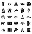 buddhism icons set simple style vector image