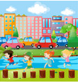 children playing on logs in city park vector image