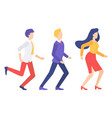 conceptual characters are running in hurry vector image