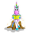 cute unicorn in cartoon style reading a book vector image