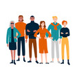 diverse group young people together portrait vector image vector image