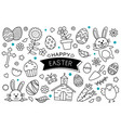 easter eggs doodle hand drawn on white background vector image vector image