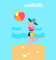 elegant lady throwing ball on beach vector image vector image