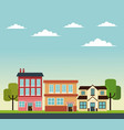 facade house market store road trees design vector image